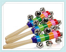 Baby Rattle Rainbow Toy Kid Pram Crib Handle Wooden Activity Bell Stick Shaker Rattle Baby Rattle & MobilesToys