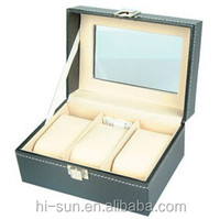 Hot sale advanced Custom-made faux leather wooden watch box case