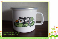 cartoon decal enamel milk pot with plastic cover and single handle