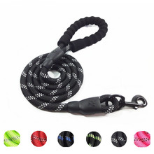 High quality Strong Durable and Thick Round Rope Nylon Reflective Pet Dog Leash with Comfortable Padded Handle
