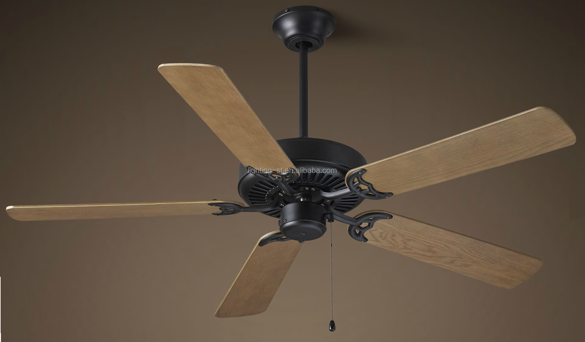 "CEILING FAN 52"" - VINTAGE BLACK WITH WEATHERED OAK PT1306-1"