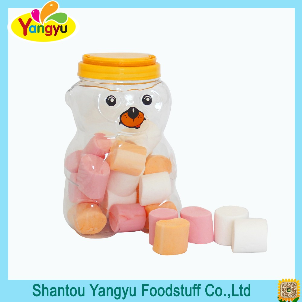 Cylindrical White/Pink/Yellow Marshmallow In Bear Botthle