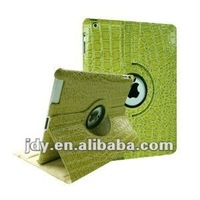 (Crocodile Green) 360 Degree Rotating Stand Smart Cover PU Leather Case for the new iPad 3 / iPad 2