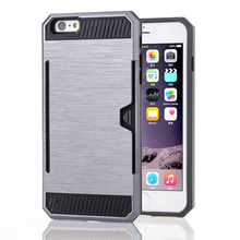 TPU PC Protective Combo Case for iPhone 6/7 plus with Credit Card Holder Cell Phone Case
