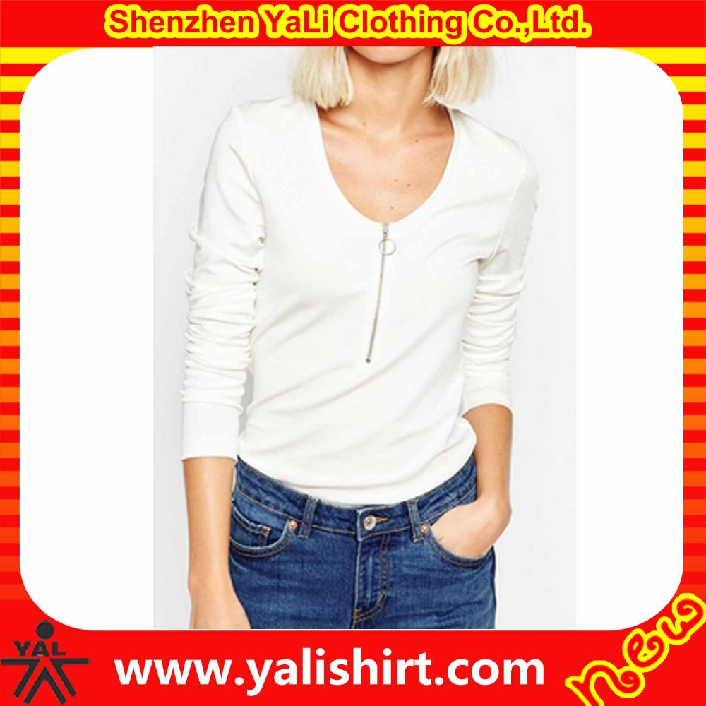 Custom made high quality fitness scoop neck zipper placket white cotton long sleeve tee shirt blanks