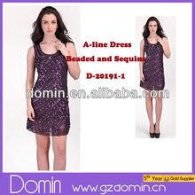 Wholesale Beaded and Sequins U Neck Design Women A Line Dress