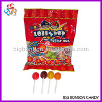 Mixed Fruit Flavours Bubble Gum Lollipop Candy Sweets