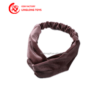 OEM Gray Art Vintage Plush Hairband Simple Style Solid With Elastic Ribbon Hairband Custom Hair Accessories Gift Promotional