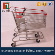 Hot sell good cheap 60 liter zinc with powder American type trolley supermarket