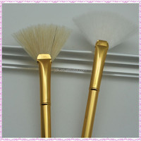 Professional Makeup for Resale/Gold Aluminum Handle Fan Brush/JDK New Arrival Makeup Brush Synthetic Mask Brushes Resale