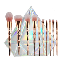 Wholesale professional Cosmestic Brush Rose Gold 10pcs Rainbow Unicorn Makeup Brushes Set