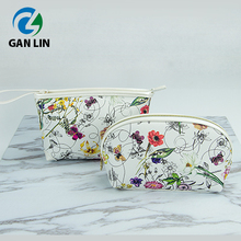 2017 glamour PU leather flower printing cosmetic bag