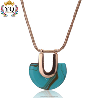 PYQ-00131 new charm smile face design stone silver gold chian pendant necklace for women sweater gift daily