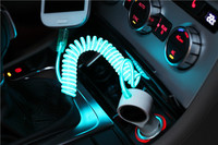 2.0A Car cigarette lighter led light up cable, EL visible light Micro USB Car charger