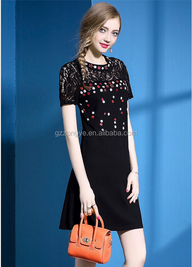 New design elegant short sleeve lace beaded A-line dress ornament for Summer woman's dress