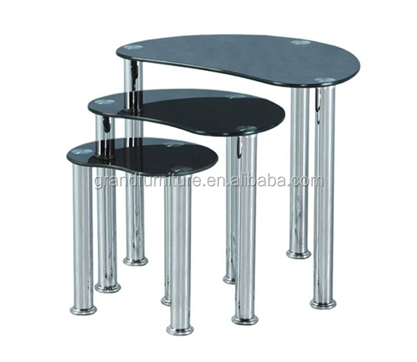 Modern Smart Glass Nest of 3 Lamp Side Coffee Table
