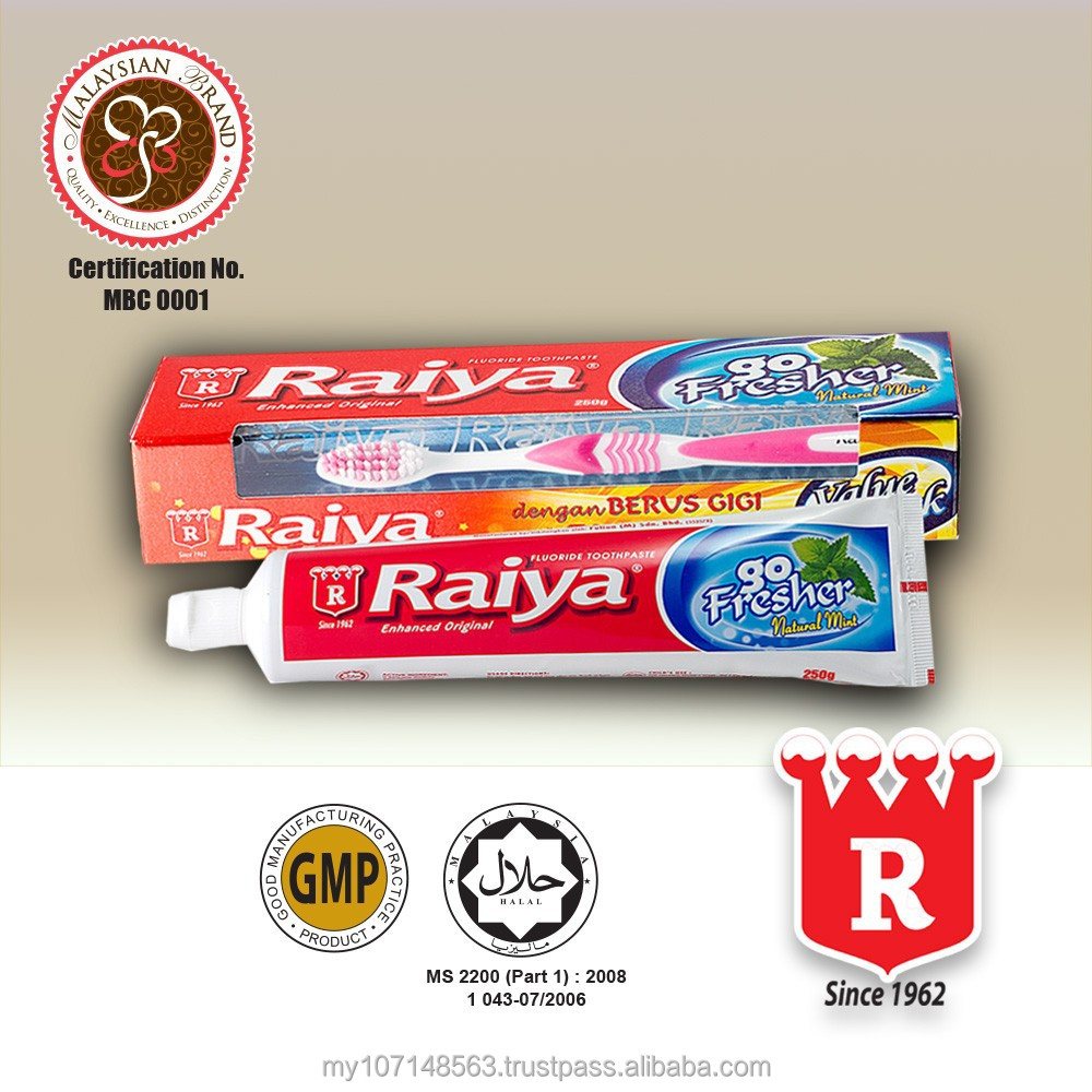Raiya Natural Mint Toothpaste (Red) With Toothbrush 250g