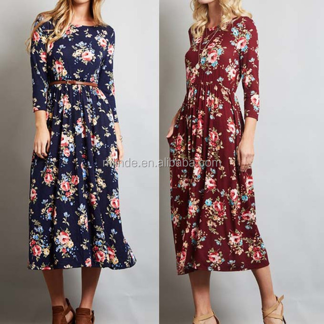 private label long sleeve floral pocket midi length fashion US size women dresses 2017 summer