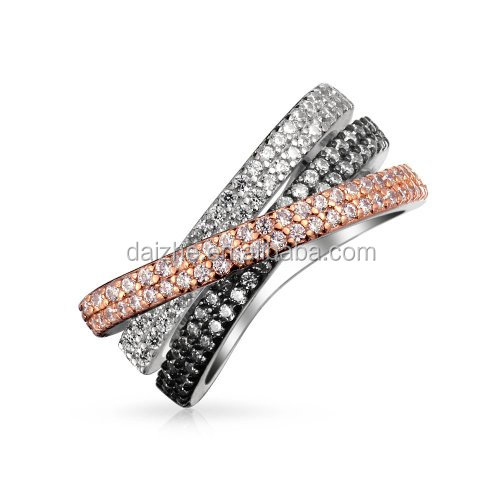 2016 high quality rhodium,<strong>black</strong>,rose gold clear cz micro pave cross ring