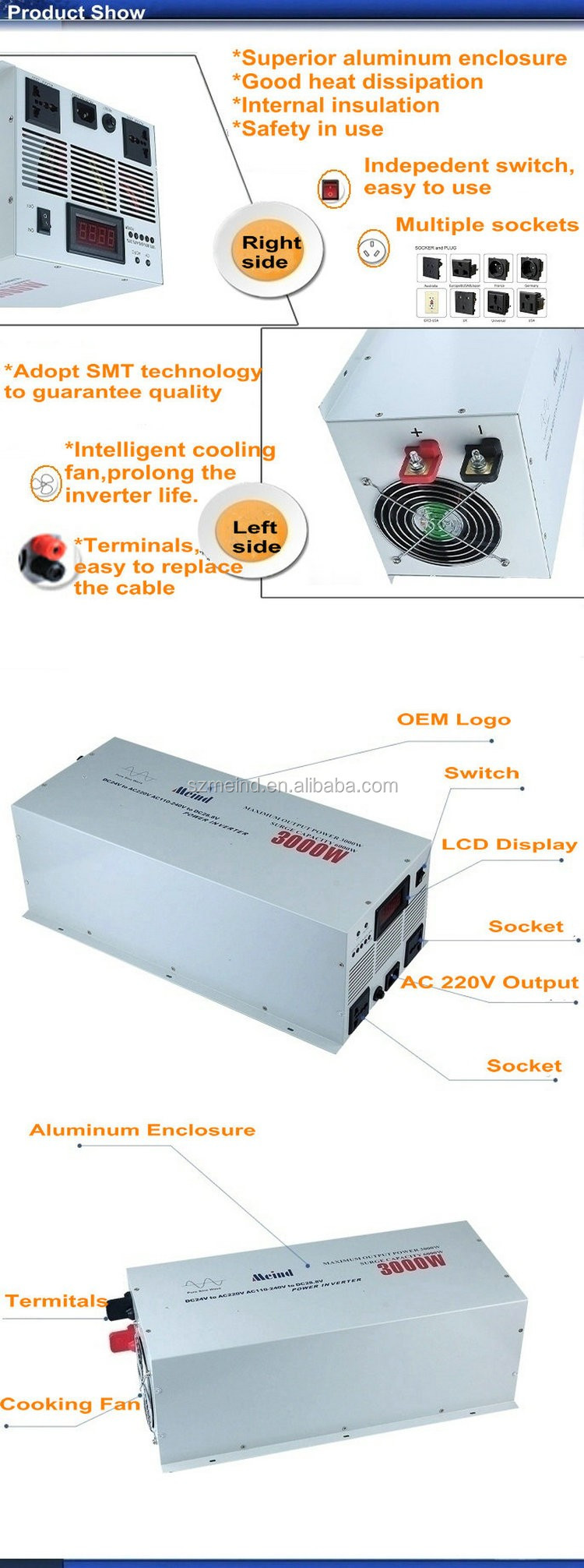 Meind solar inverter 3000w DC12V TO AC220V 50HZ Pure sine wave inverter for solar off grid system