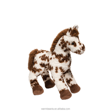 Promotional high quality Suntown plush stuffed animal toys,plush white horse with brown pattern toys,plush standing horse toys