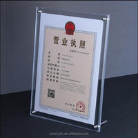free stand acrylic A4 certificate display frame