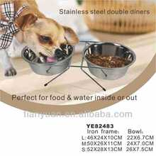 double diners pet stainless steel bowls
