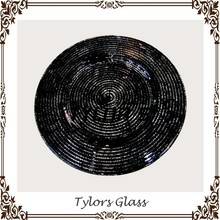 Antique Black Swirl Wedding Glass Charger Plates By Tylors Glass Wholesale