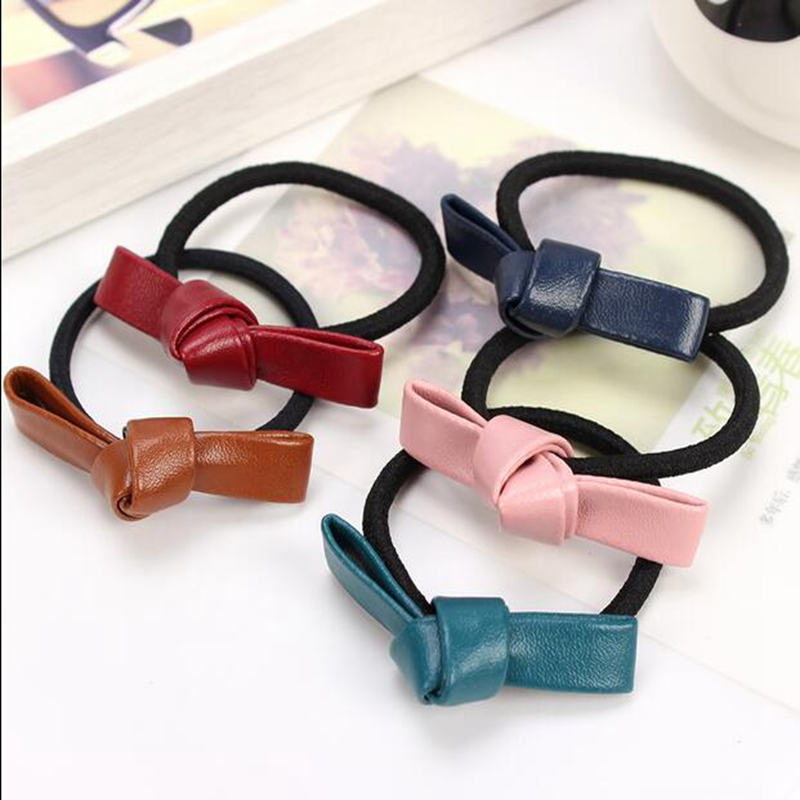 Newest Korean Hair Accessories Women Leather Bow Rubber Bands Elastic Scrunchy Gum Hair Tie Rope Headwear Accessories