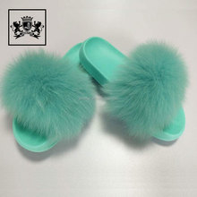 New fashion multicolor comfortable fox fur EVA slide slipper