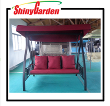 3-person red short fiber swing chair outdoor iron swing chair
