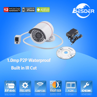 Popular Shenzhen Security Product 720p Outdoor Metal Housing P2P Waterproof Security Network Camera IP