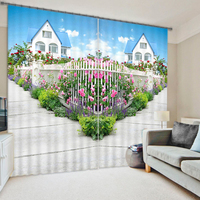 Fancy beautiful garden flowers 3d curtains for the bedroom