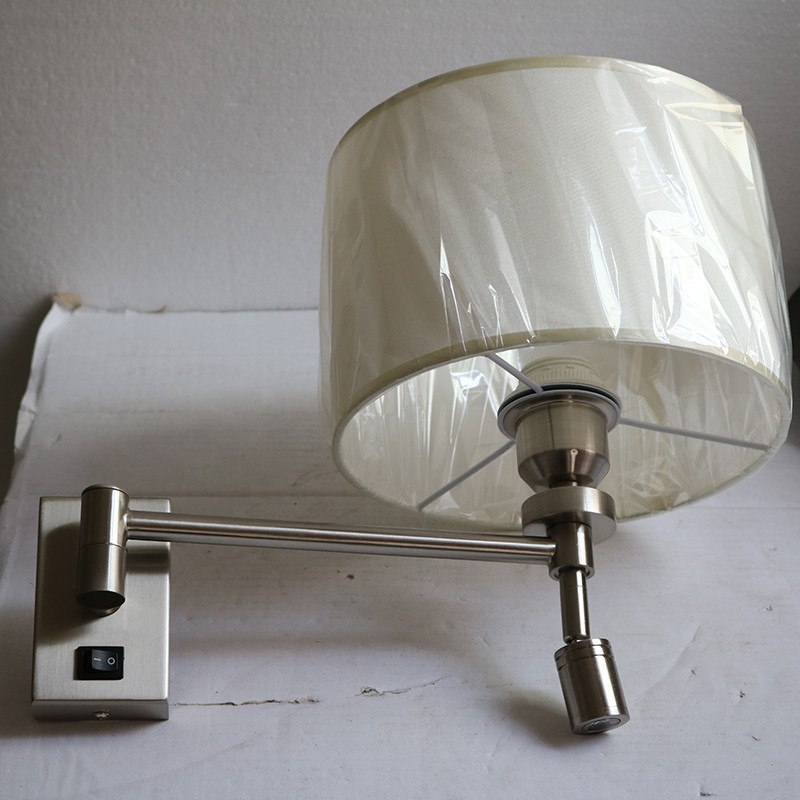 Hotel Room Decorative brushed nickel Wall lamp with LED