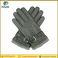 Mens green winter warm gloves motorbike with belt