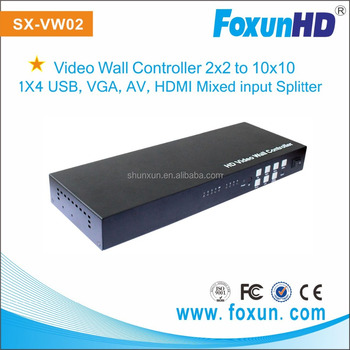 3x3 Video wall controller with HDMI/VGA/USB/AV mixed input HDMI splitter 1x4