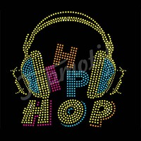 Colorful Hip Hop Earphone Rhinestone Decals Custom Heat Transfer