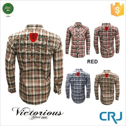 custom polyester/ spandex gingham big check shirt