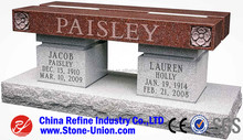 Natural Granite Stone Monument Cemetery Bench for Sale