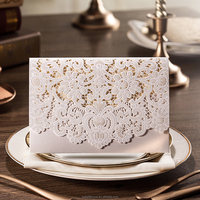 Laser Cut Wedding Invitations Card with Embossed Flowers Wedding Invitation Free Print Wedding Cards with Envelope & Seal CW073
