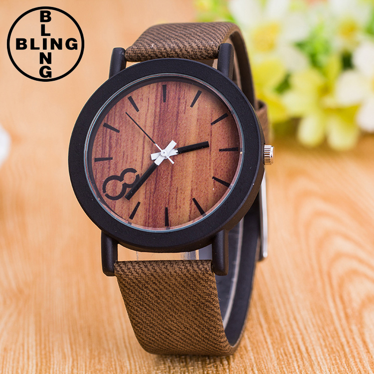 >>>Fashion Casual men Women unisex Wood grain dial Denim style leather strap Quartz Sports Wrist watch/