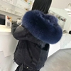 YRC1049A Winter warm fur parka denim fabric with real rabbit fur lined fox collar jean reversible parka