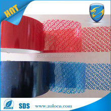 Low price Red/blue color security open void PET tape & security tape label