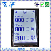 Factory Manufacture Alphanumeric Monochrome Custom Size 7 Segment LCD display