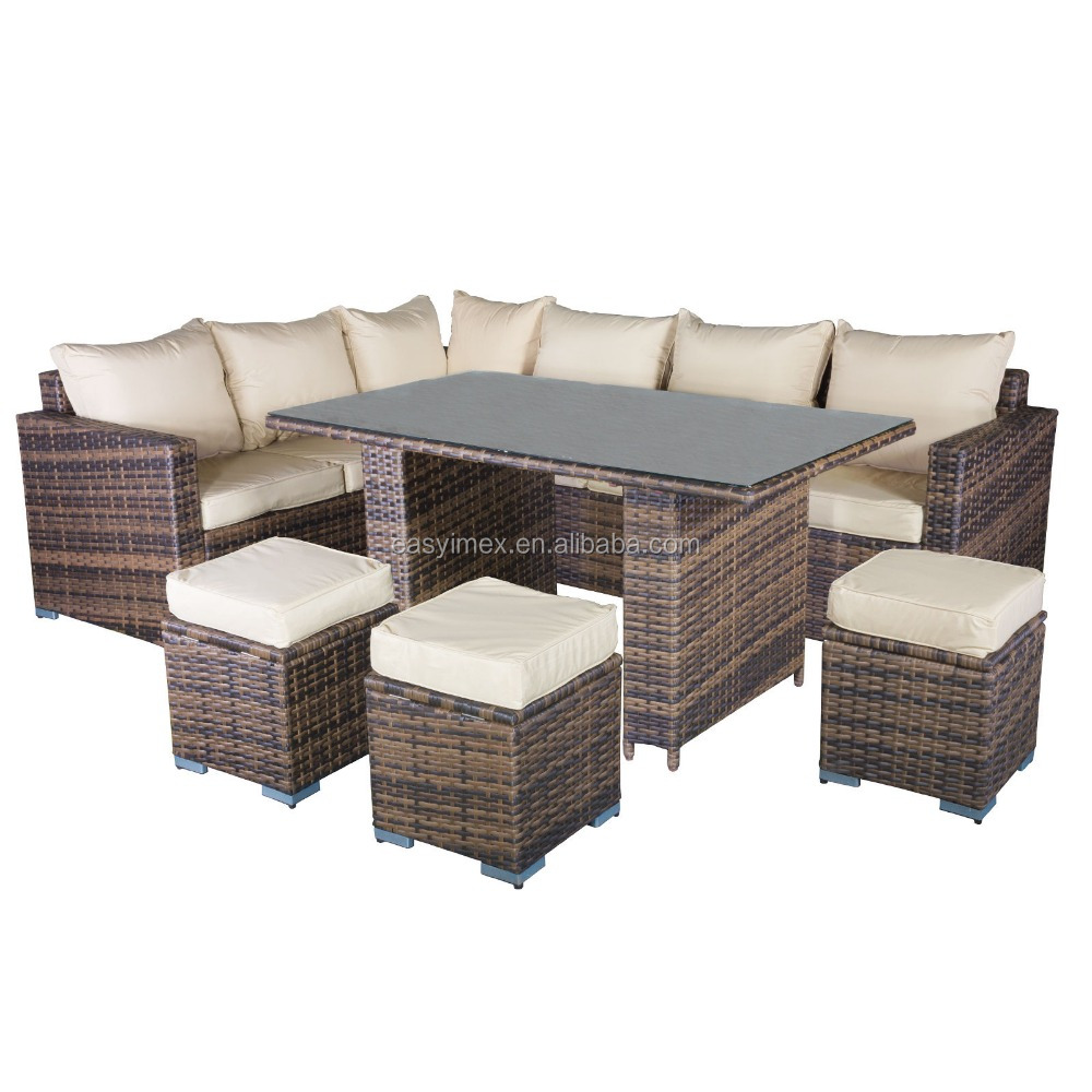 Rattan outdoor garden hot sale modern corner sofa dining for Wicker patio sets on sale