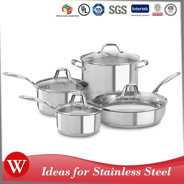 Best Selling Products 2017 In USA Stainless Steel Cookware Sets As Seen On TV Kitchen Casserole Stock Pot Fry Pan Solid Handle
