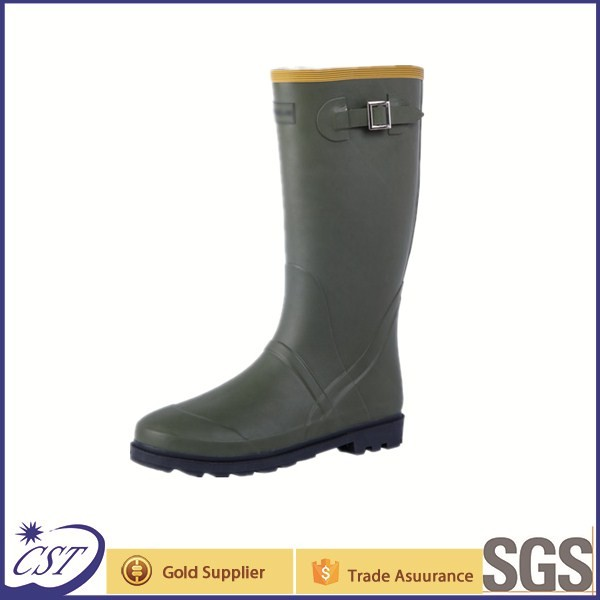 Cheap price rubber working boots with side buckle
