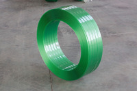Manual packing application green PET strapping