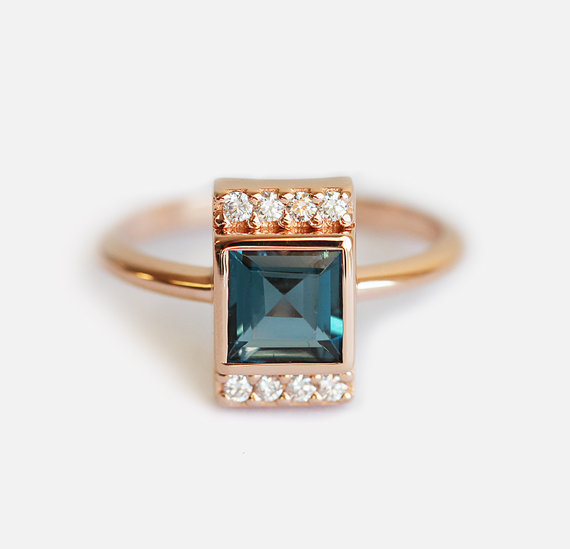 Xuan Huang Brand Jewelry Factory Direct Sale Blue Square Gemstone Ring