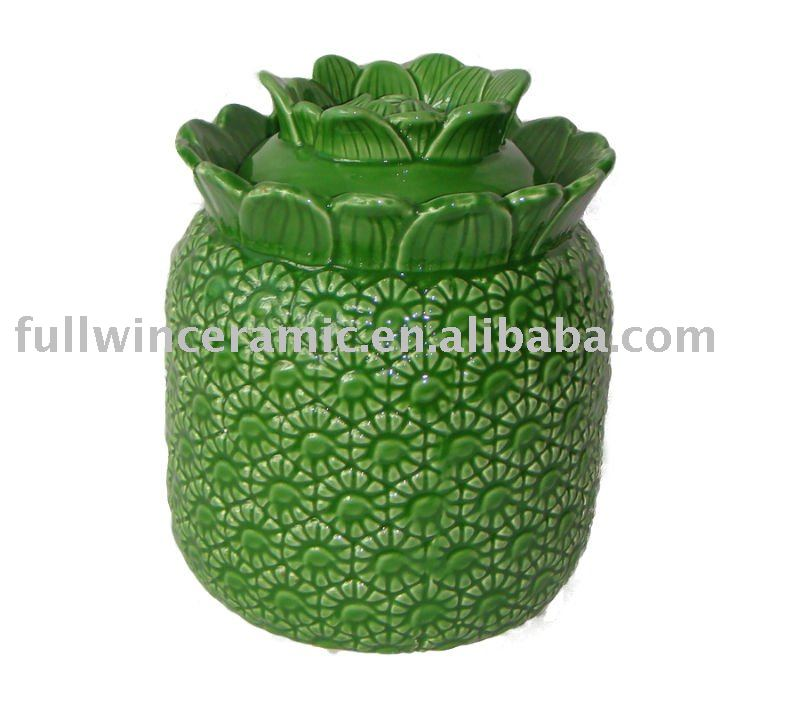 Color-glazed Ceramic Pineapple Design Sealed Jar